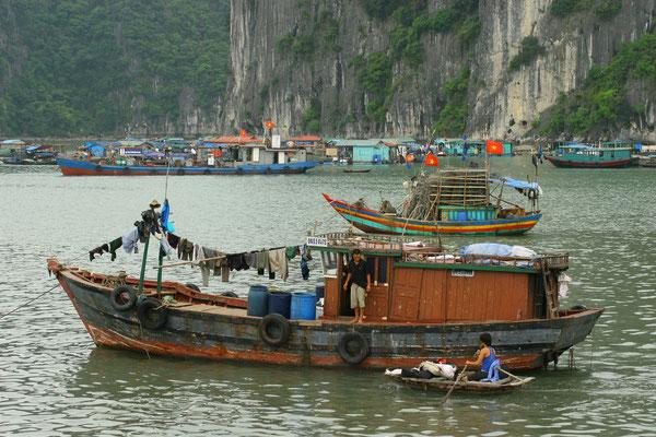 es gibt hier aber die Möglichkeit, sich mit kleinen Booten für ein paar Dong sich durch die schwimmenden Dörfer rudern zu lassen
