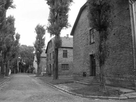 Unterkunftsbaracken in Auschwitz 1, eine ehemalige polnische Kaserne