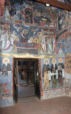 Darstellung des Einzugs ins Paradies und mehrere wohl Stifterfiguren aus dem 14. Jhdt.