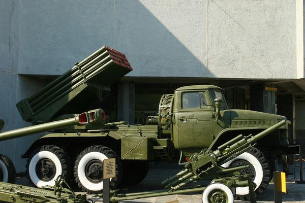 """Berühmt berüchtigter russischer Raketenwerfer des 2. Weltkriegs, die  """"Stalinorgel""""."""