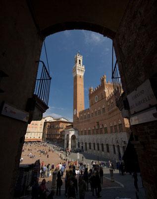 ...und ist bekannt für den Palio di Siena, ein Pferderennen, das hier am zentralen Platz Piazza del Campo ausgetragen wird.