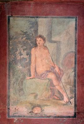 Im hinteren Teil befindet sich die mit Freskenbildern verzierte Wohnung