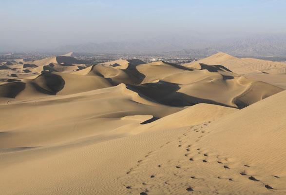 Neben der Oase kommen die Besucher natürlich wegen der imposanten Sanddünen.