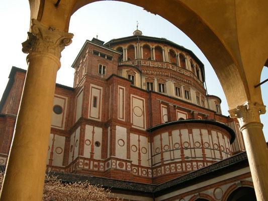 """Dominikanerkirche Santa Maria delle Grazie. Die seit 1980 auf der Liste des Weltkulturerbe der UNESCO stehende Kirche beherbergt Leonardo da Vincis """" Abendmahl"""""""