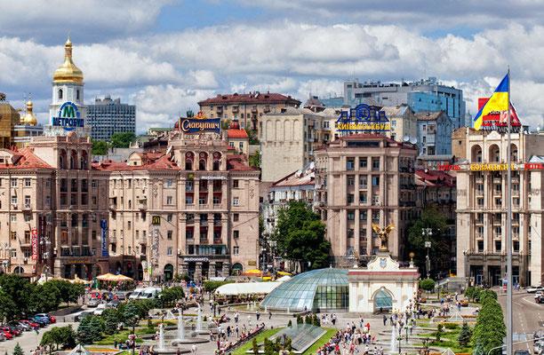 Kiew - Der Majdan-Unabhängigkeitsplatz war 2004 die Bühne für die orangene Revolution.