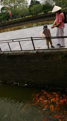 Fischfütterung auf dem Brückenweg der Phu Xuan Brücke zum Stadteingang