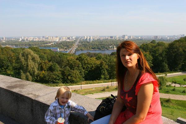 Blick auf die Neustadt Kiews vom Obelisken