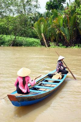 Für ein paar Dong kann man die kleinen Seitenarme des Mekong erkunden
