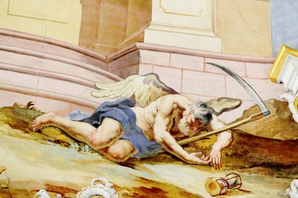 Am Boden die Symbolfigur der Zeit, Chronos, zusammengebrochen, der Zeitmesser, das Stundenglas, ist ihm entglitten.