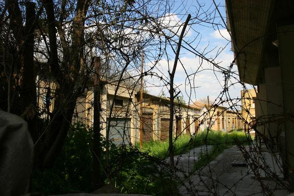 verfallene Häuser entlang der Green line