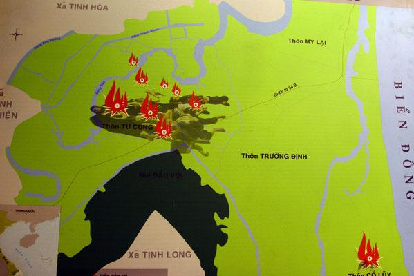 My Lai: am 16.März 1968 landeten 9 Helikopter unter Führung von Cpt. Ernst Medina  im Dorf TuCung, weitere 11 im Dorf Co Luy. Unter Führung von Leutnant William Calley suchte das 1. Platoon gezielt nach Zivilisten und töteten jeden, den sie fanden.