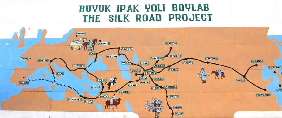 Mit Usbekistan ist ein Mythos verbunden: Die Große Seidenstraße, deren faszinierende Route durch legendäre Stadte wie Taschkent, Samarkand, Buchara und Chiwa verlief. Auf ihr spielte sich der interkontinentale Fernhandel zwischen Orient und Okzident ab.