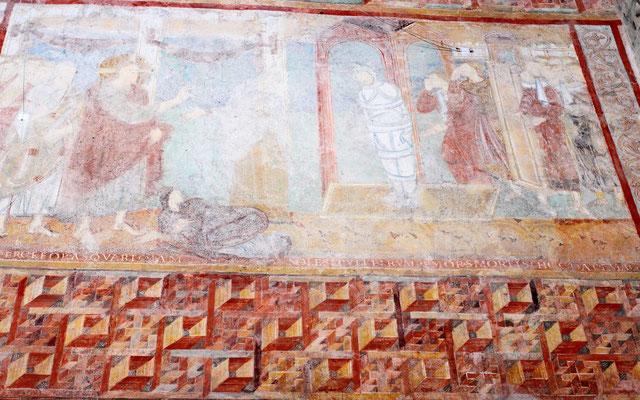 Die Auferweckung des Lazarus. Nach dem Tod des Bruders von Marta, befahlr er ihr, den Stein, der das Grab verschloss, zu entfernen. Trotzdem er bereits 4 Tage tot war, kam der Verstorbene mit Binden umwickelt hinaus und Jesus ließ ihn gehen.