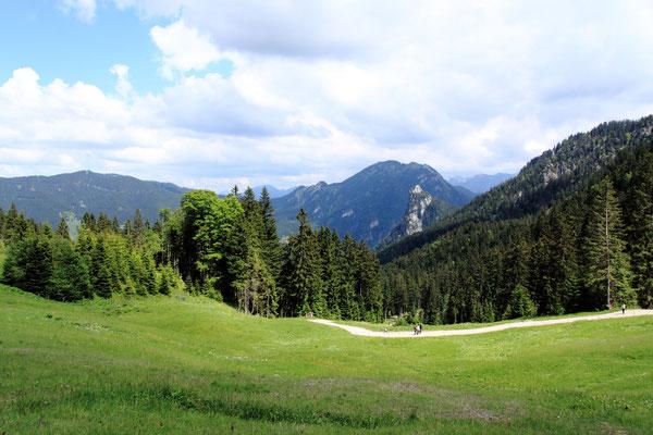 Blick von der Kolbensattelhütte in die Alpen