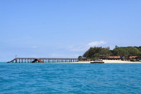 Prison island (changuu island). Nur 20 Minuten von Stone Town entfernt gelangt man nach prison island, so benannt wegen eines völlig zerfallenen Gefägnisgebäudes, das 1893 hier errichtet wurde.