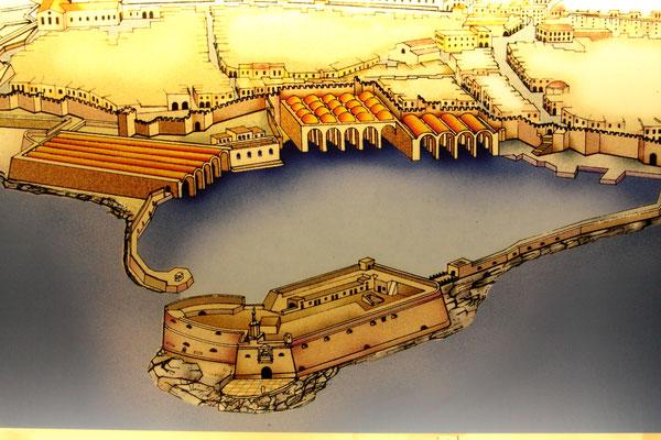 Maßstabsgetreue Rekonstruktion der Wehranlage und des venezianischen Hafens mit seinen Docks. Kreta stand unter venezianischer Herrschaft von 1204 bis zur osmanischen Übernahme 1669.