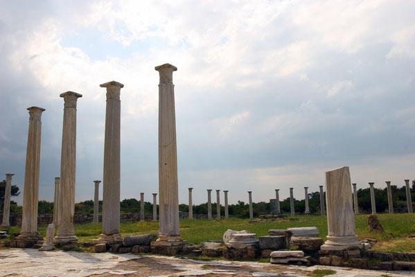 Teukros gründete auf Zypern eine Stadt, die er nach seiner Heimatinsel Salamis nannte, hier Reste des Gymnasiums.