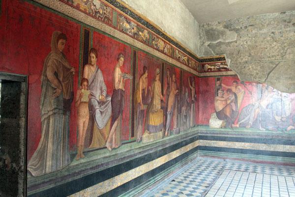 Es zeigt mysteriöse Kulthandlungen mit dem Gott Dionysos und seiner Frau Ariadne beim Wein in entzückender Ekstase