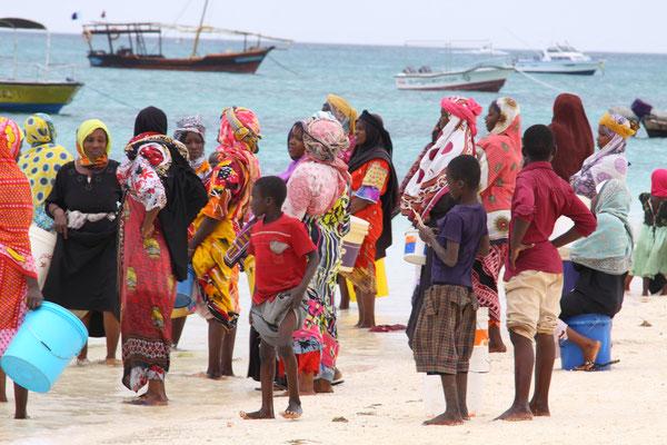 Jeden Tag stürmen die Frauen bei der Rückkehr ihrer Männer ans Meer um zu sehen, was diese mitgebracht haben.