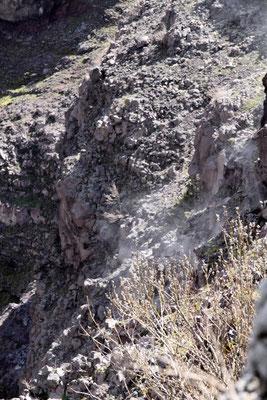 Trotz langer Ruhephasen  zählt der Vesuv zu den gefährlichsten Vulkanen der Welt. An den vielen Fumarolen kann man die aktive Tätigkeit der Magmakammern erkennen.