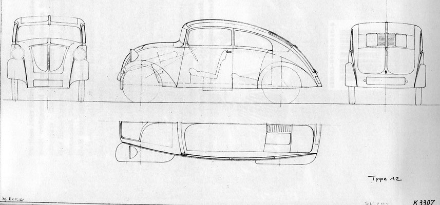 1932: Skizze zum Porsche Typ 12 von Erwin Komenda, signiert und datiert.