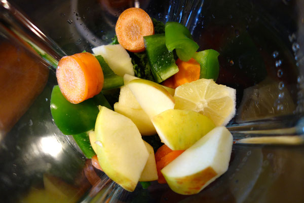 Groente en fruit in blender