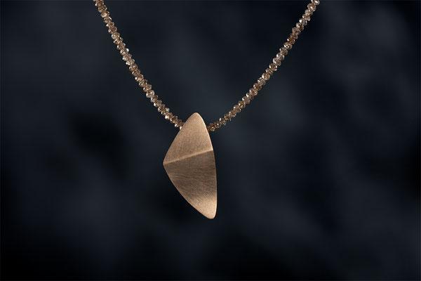 Produktnummer 2793 - 585/- Rosegold, braune Diamantkette