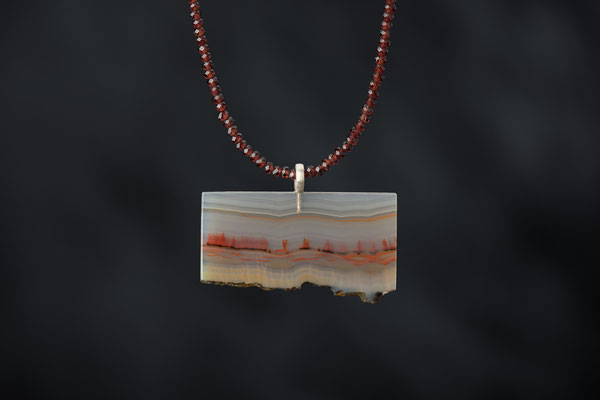 Produktnummer 9136 - Landschaftsachat, 925/- Silber, Granatkette