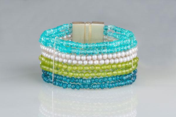 Armband, AG, Apatite, Peridot, Perlen