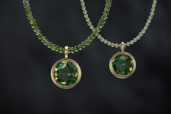 Produktnummer 9165 - 750/- Gelbgold,  grüne Bernsteine, Peridotketten