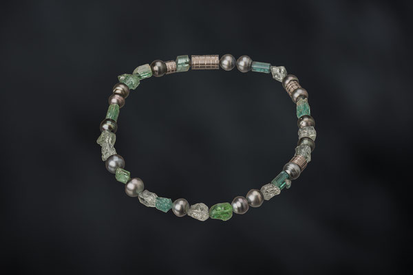 Artikelnummer 8978 - Turmalin - und Prasiolithbrocken , Tahitiperlen, Palladium, 925/- Silber