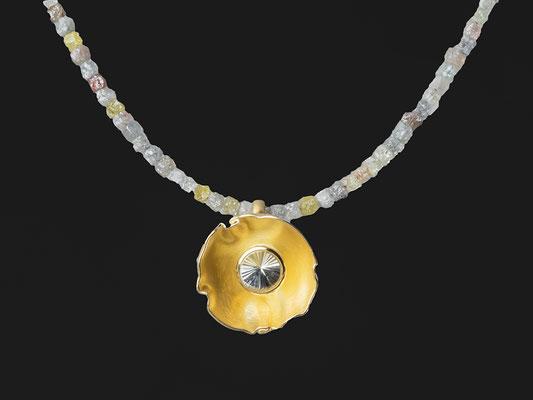 Produktnummer 1997 - 750/- Gelbgold, Turmalin, Rohdiamantkette