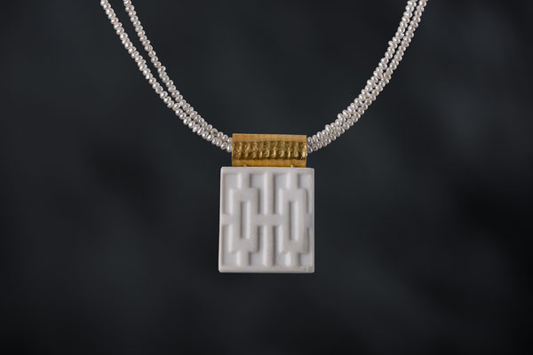 Produktnummer 8720 - 900/-Gelbgold, 925/-Silber, Porzellan, Perlenkette
