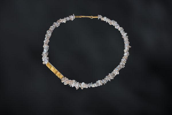 Artikelnummer 9158 - Perlen, Plexi, Blattgold, 925/- Silber , vergoldet