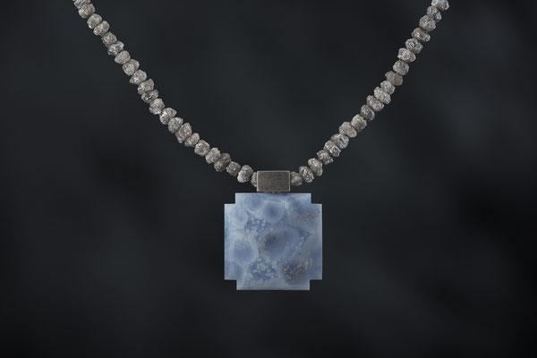 Produktnummer 8773  - Calcedon, 925/- Silber, Rohdiamantkette