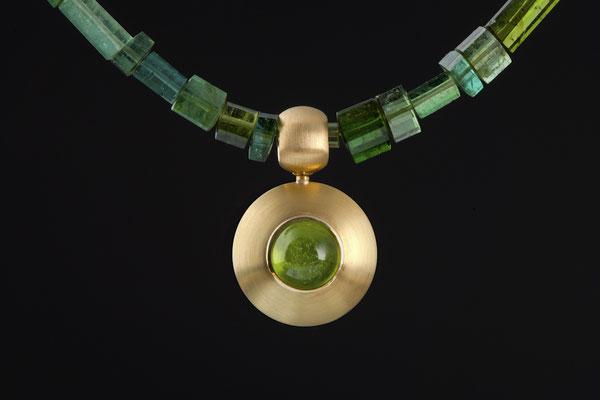 Artikelnummer 5512 - 750/- Gelbgold, Peridot, Turmalinkette