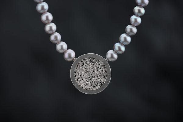Produktnummer 4284 - 925/- Silber, graue Perlen,  Wechselschließe