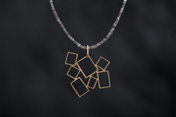 Produktnummer 8156  - 750/- Gelbgold, Rohdiamantkette