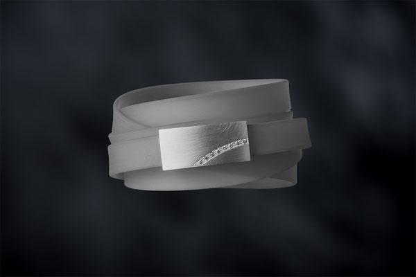 Produktnummer 7753 - 925/- Silber, graue Brillanten, Silikon