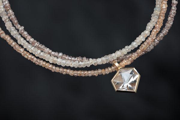 Produktnummer 6732  - Alpinquarz, 585/- Rosegold, Zirkonketten