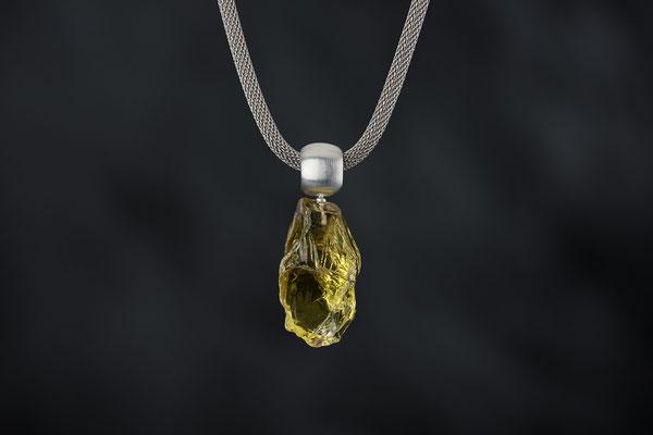 Produktnummer 8764 - Lemonquarz Brocken, 925/- Silber, Edelstahlgeflecht