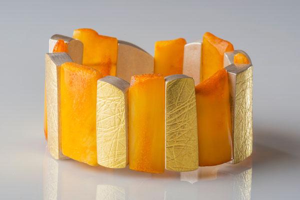 Bernsteine, 900/-Gelbgold, 925/-Silber