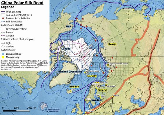 Karte Chinas Polare Seidenstrasse