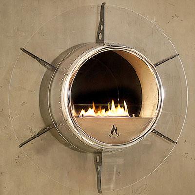 Ethanolkamin Aviator von ebios-fire mit Plexiglas und Halterung