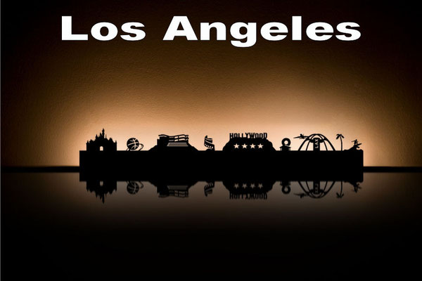 Objekte der Skyline (v.l.n.r.):  LA Anaheim, Basketball, Getty Center, Paramount Pictures, Hollywood Sign, Donut-Restaurant, LAX-Airport, Palme, Surfer