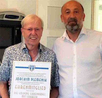 Ehrenmitgliedschaft und Goldene Ehrennadel mit Lorbeer für Joachim Plemenik für 60 Jahre Vereinstreue und fast 50 Jahre Ehrenamt
