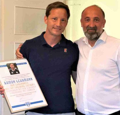 Ehrenbrief des SGV und Silberne Ehrennadel mit Lorbeer für Ramon Gehrmann