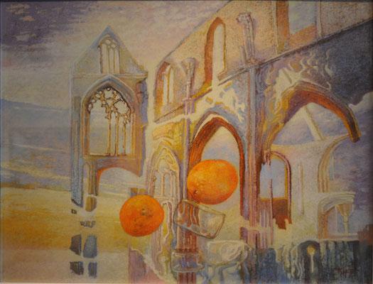 Saint-Aulaye : pastel présenté dans la salle d'exposition du musée