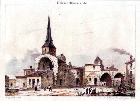 Abbaye de Saint-Maurin : gravure du 19è siècle