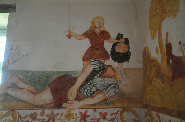 Abbaye de Trizay : peinture murale du logis du prieur (17è siècle)